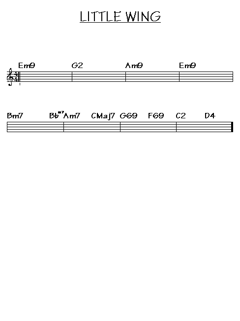 Modern Little Wing Chords Sketch - Guitar Ukulele Piano music Chords ...